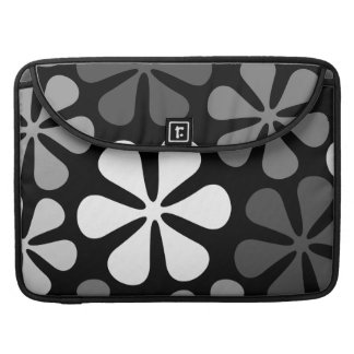 Abstract Large Flowers Monochrome Sleeve For MacBooks