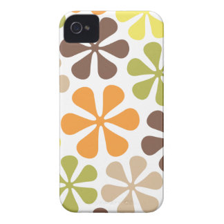 Abstract Large Flowers Retro Colors iPhone 4 Case-Mate Case