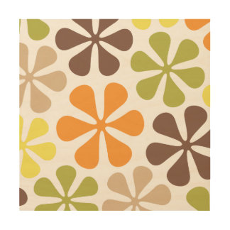 Abstract Large Flowers Retro Colors Wood Canvases