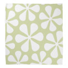 Abstract Large Flowers White on Lime Bandana