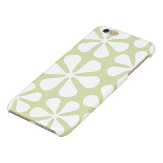 Abstract Large Flowers White on Lime iPhone 6 Plus Case