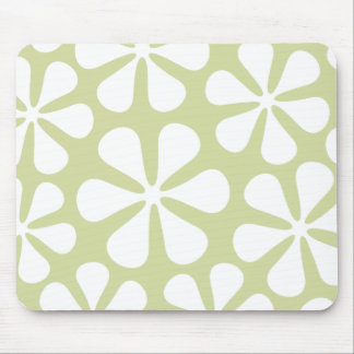 Abstract Large Flowers White on Lime Mouse Mat