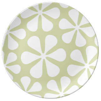 Abstract Large Flowers White on Lime Plate