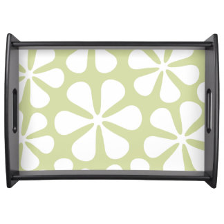 Abstract Large Flowers White on Lime Serving Tray