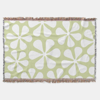 Abstract Large Flowers White on Lime Throw Blanket