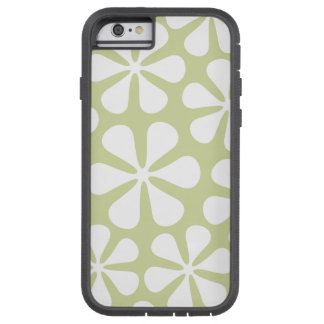 Abstract Large Flowers White on Lime Tough Xtreme iPhone 6 Case