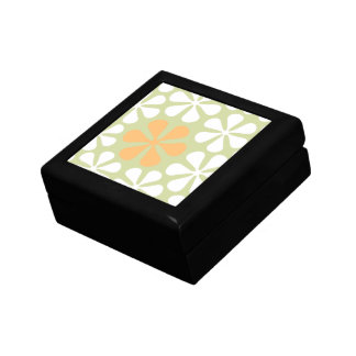 Abstract Large Flowers White & Orange on Lime Gift Box