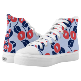 abstract leaf and flowers print. high tops