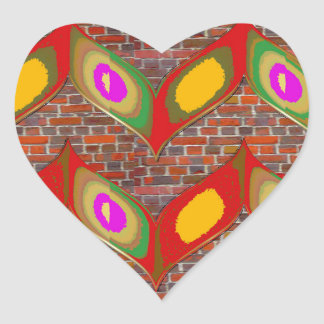 Abstract leaf design on brick wall goodluck gifts heart sticker