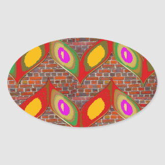 Abstract leaf design on brick wall goodluck gifts oval sticker