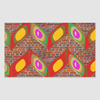 Abstract leaf design on brick wall goodluck gifts rectangular sticker