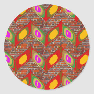 Abstract leaf design on brick wall goodluck gifts round sticker