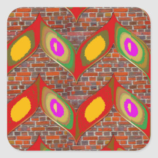 Abstract leaf design on brick wall goodluck gifts square sticker