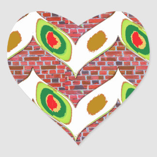 Abstract Leaf design on brickwall pattern pod gift Heart Sticker