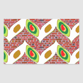 Abstract Leaf design on brickwall pattern pod gift Rectangular Sticker