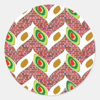 Abstract Leaf design on brickwall pattern pod gift Round Sticker