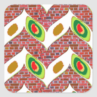 Abstract Leaf design on brickwall pattern pod gift Square Sticker