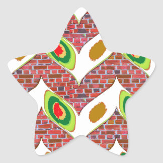 Abstract Leaf design on brickwall pattern pod gift Star Sticker