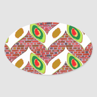 Abstract Leaf design on brickwall pattern pod gift Oval Sticker