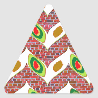 Abstract Leaf design on brickwall pattern pod gift Triangle Sticker