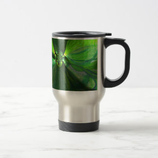 Abstract leaf fox pattern stainless steel travel mug