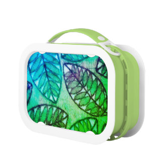 Abstract Leaf Pattern Green Lunch Box