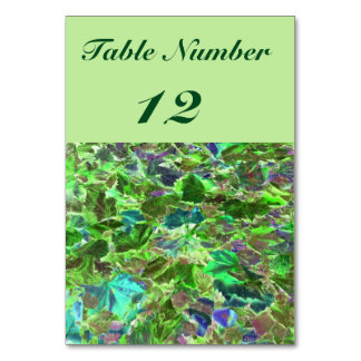 Abstract Leaves, Green and Blue Pattern Table Card