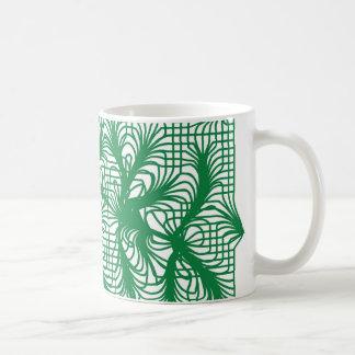 Abstract Leaves in Dark Green Coffee Mug
