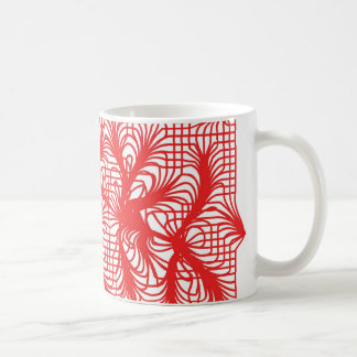 Abstract Leaves in Red Coffee Mug
