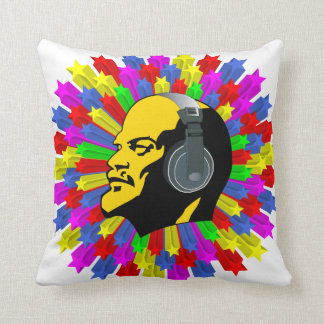 Abstract Lenin Head in Star Circle Cushion