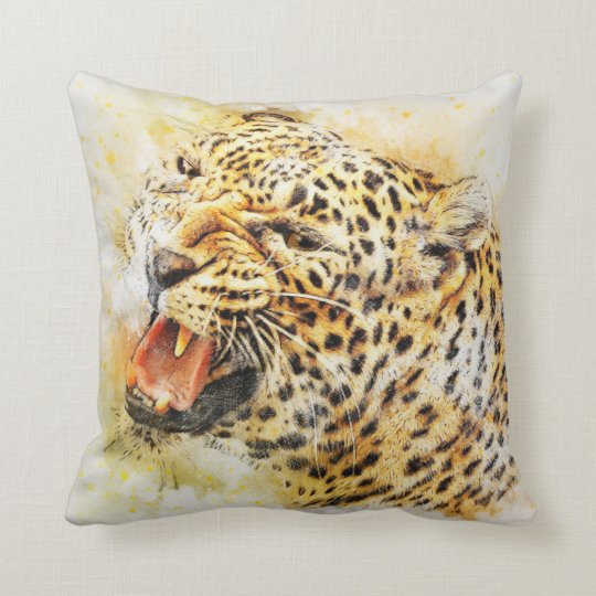 Abstract leopard throw pillow
