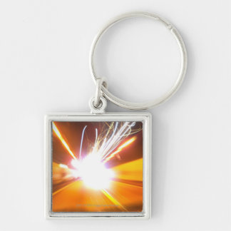 Abstract light beams and effects key ring