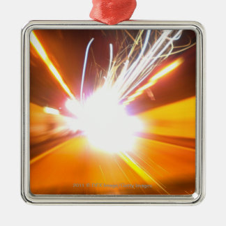 Abstract light beams and effects Silver-Colored square decoration