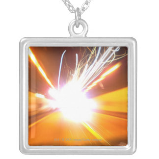 Abstract light beams and effects silver plated necklace