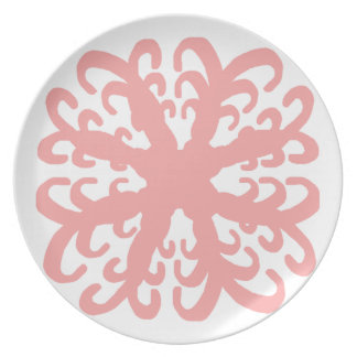 Abstract Light Coral Flower Plate