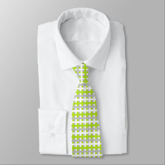 Abstract Lime Green, Silver and White Tie