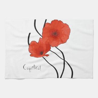 Abstract linen of kitchen Poppies Tea Towel
