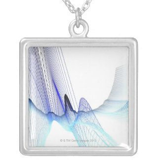 Abstract Lines 4 Silver Plated Necklace