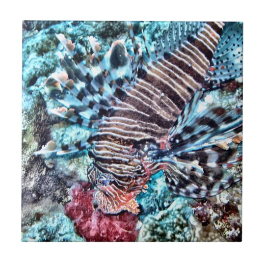 Abstract Lion Fish Tile