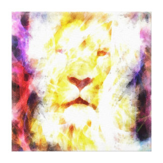 Abstract lion head painting stretched canvas print