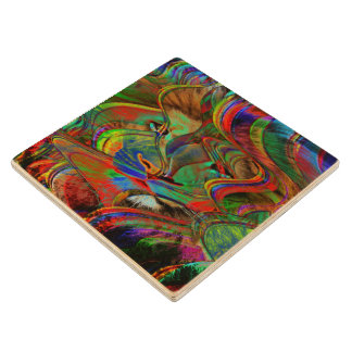 Abstract Lion Wood Coaster