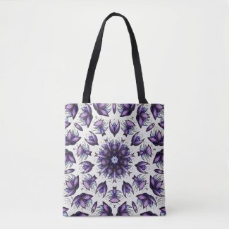 Abstract Lotus Flower Kaleidoscope Mandala Pattern Tote Bag