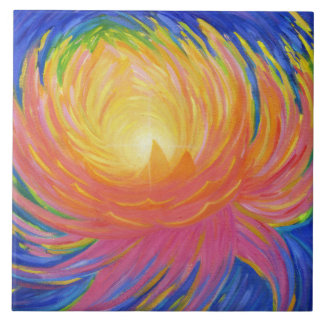 Abstract Lotus Flower Tile