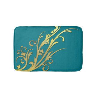 Abstract Luxury Faux Gold Flower Bath Mat