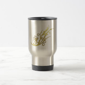 Abstract Luxury Faux Gold Flower Travel Mug