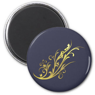Abstract Luxury Gold Flower 6 Cm Round Magnet