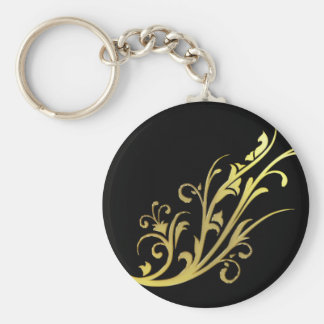 Abstract Luxury Gold Flower Basic Round Button Key Ring