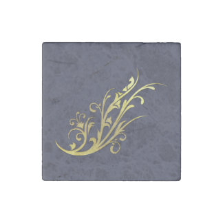 Abstract Luxury Gold Flower Stone Magnet