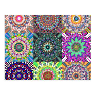 Abstract Mandala Collage Postcard