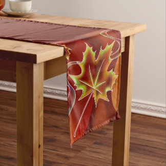 Abstract Maple Leaf Short Table Runner